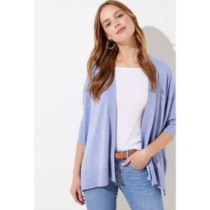 Loft Periwinkle Textured Open Poncho Sweater